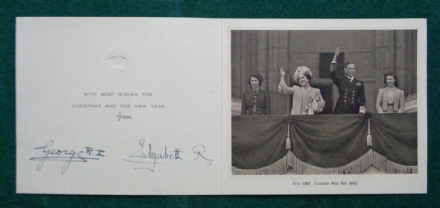 Antique Signed Christmas Card from King George VI Queen Elizabeth 1945 VE Day